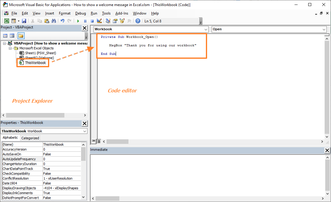 How to show a welcome message in Excel 01