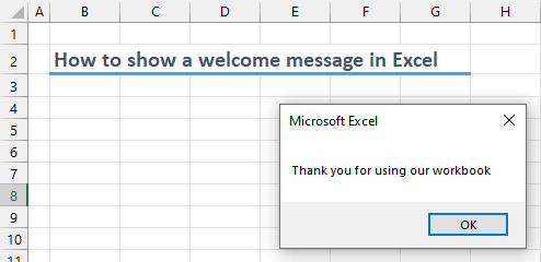 How to show a welcome message in Excel 02