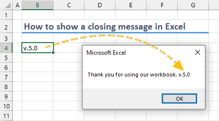 How to show a welcome message in Excel 04